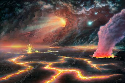 Prehistoric Earth, Hadean eon, illustration