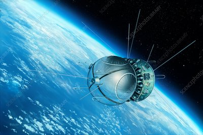 Vostok 1 orbiting the Earth, 1961, illustration