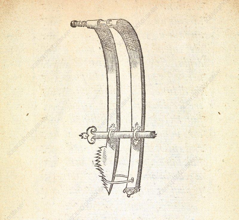 Hernia surgery instrument, 16th century - Stock Image - C030