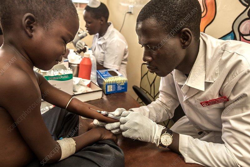 Taking blood sample