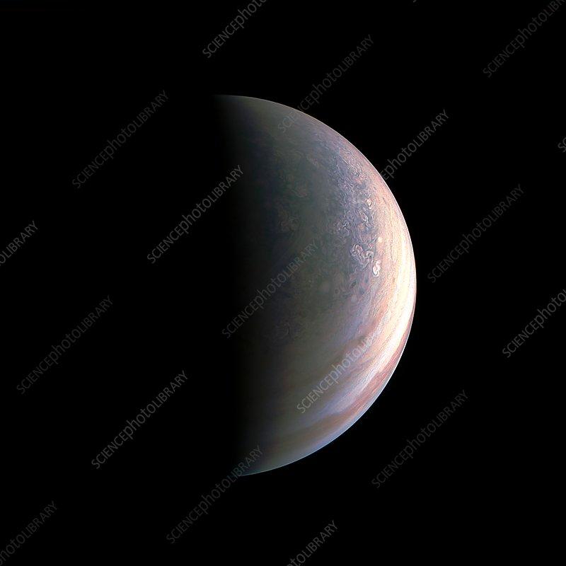 Jupiter's north polar region, Juno image