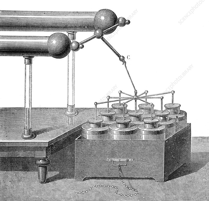 Electric Battery, 9 Leyden Jars, 18th Century