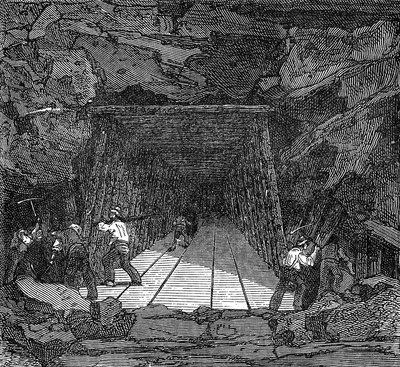 Construction of Railroad Tunnel, 19th Century