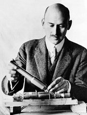 Goddard Holding Parts of 1915 Rocket