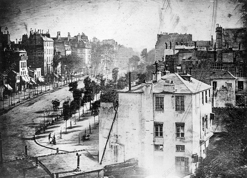 Boulevard du Temple, by Daguerre, 1838