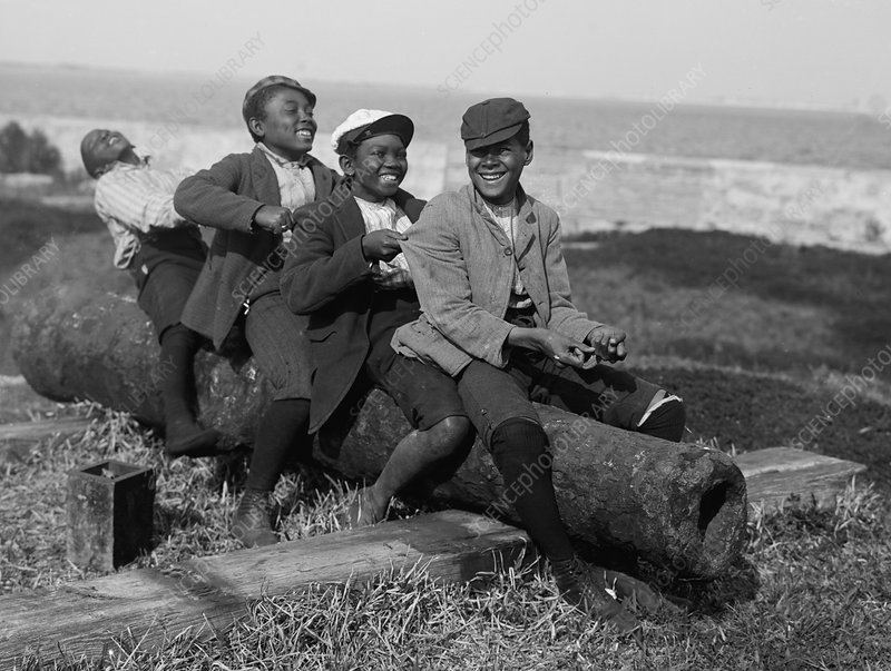 Boys Playing On Cannon, 1902