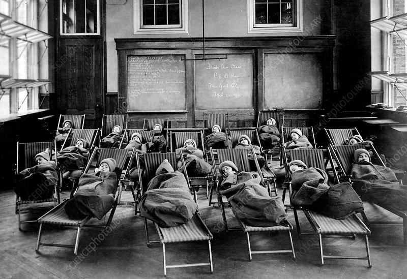 Manhattan Open Air School, Rest Hour, 1911