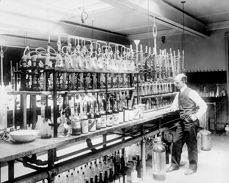 Prohibition Chemist Tests Bootleg Whiskey, 1920