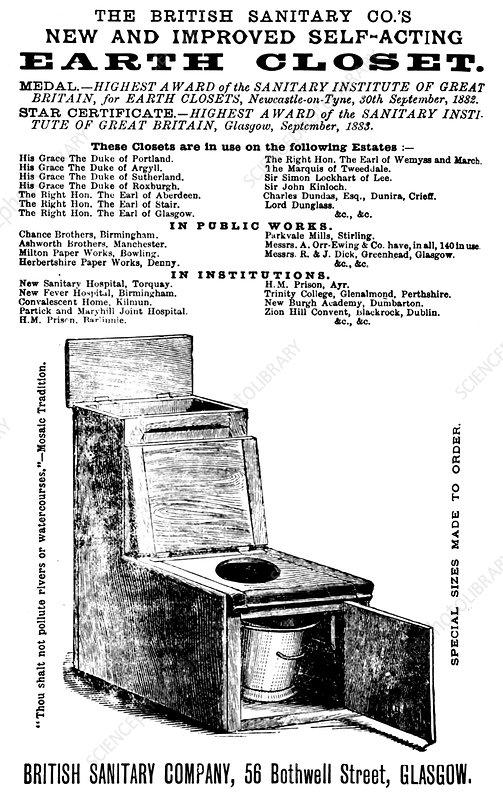 Earth Closet, Sanitation Advertisement, 1894
