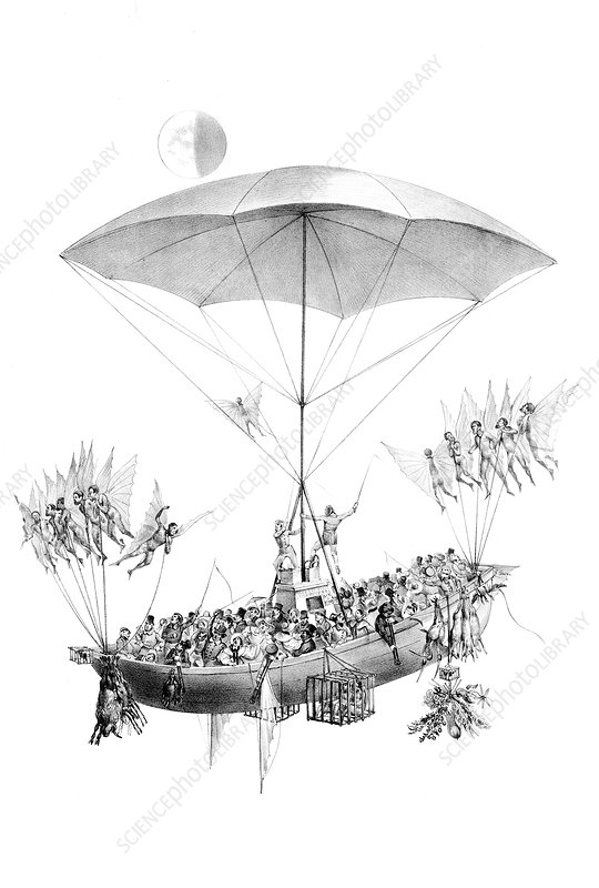 Flying Machine Returning from Moon, 1836