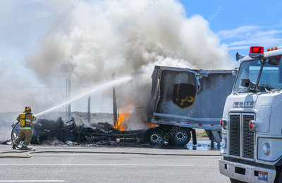 USP Truck On Fire In Road, ID
