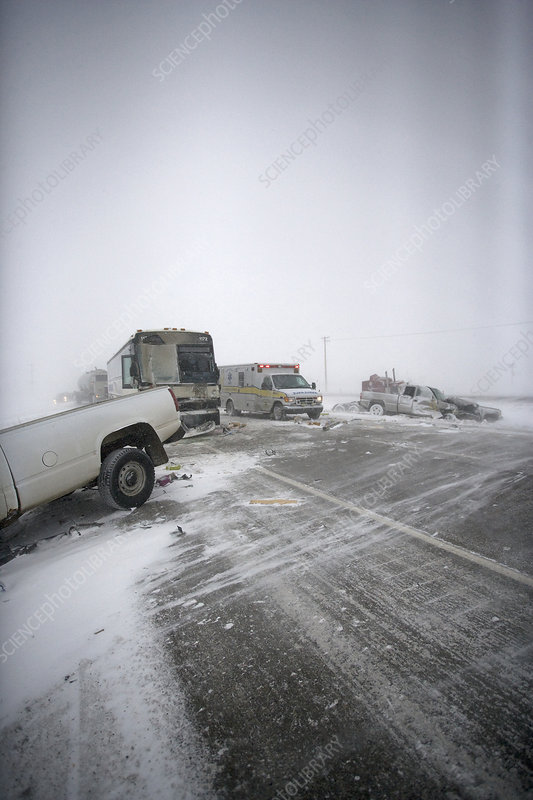 Icy Road Collision Scene - Stock Image C030/6835 - Science Photo Library