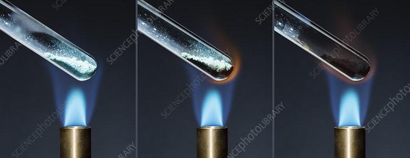 Decomposition of copper carbonate