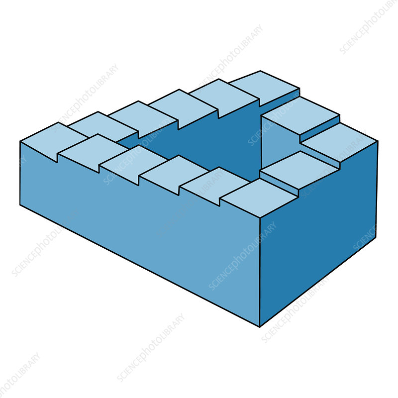 Optical Illusion, Penrose Stairs, Illustration