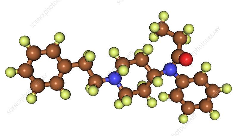 Fentanyl, molecular model