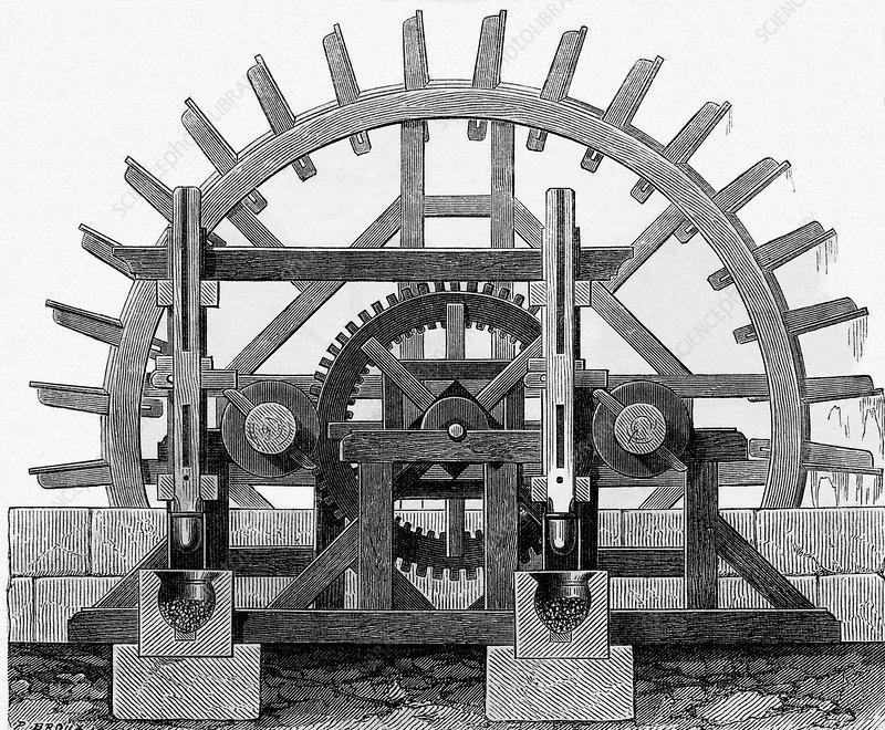Waterwheel of a Pilon powder mill