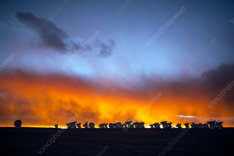 ALMA telescopes at sunset, Chile