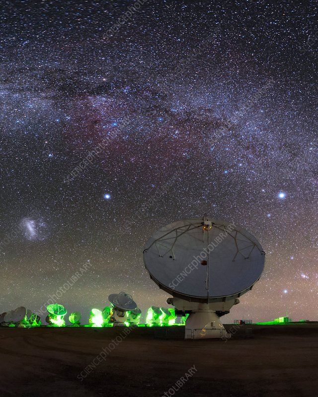 Milky Way over ALMA telescopes, Chile