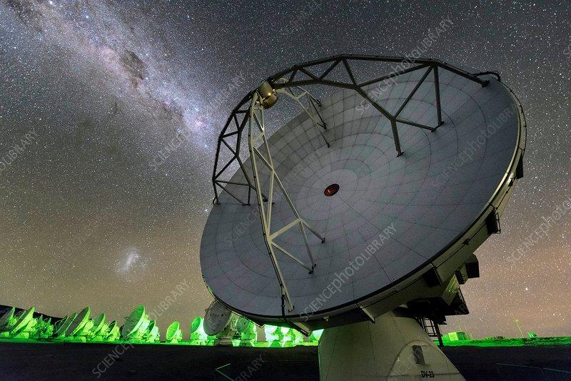 Milky Way over ALMA telescopes, Chile