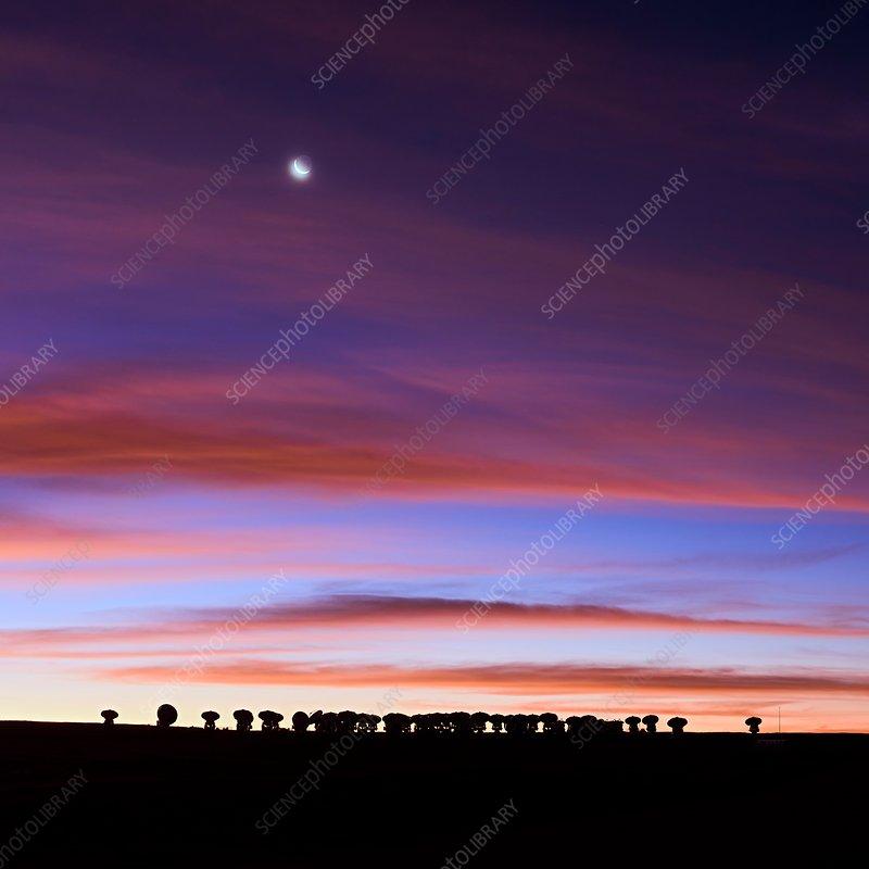 ALMA telescopes at dusk, Chile