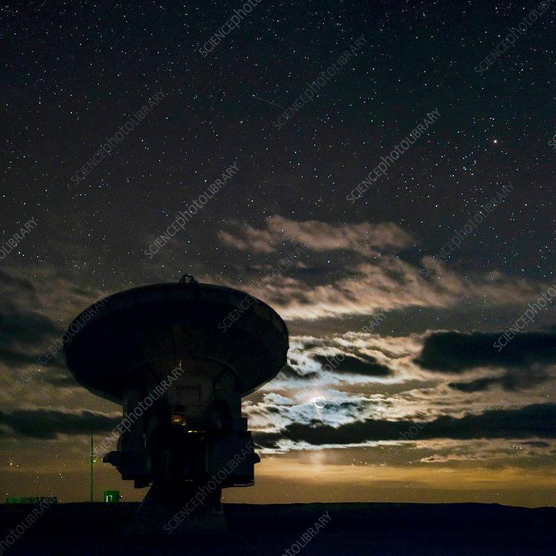 Night sky over ALMA telescope, Chile