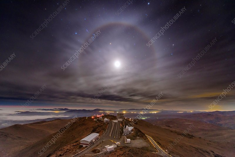 Moon halo and La Silla Observatory, Chile