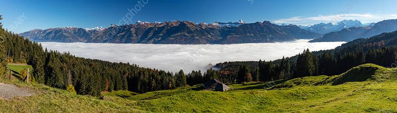 Mist over Lake Sarnen, Switzerland