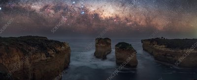 Milky Way over sea stacks, Australia