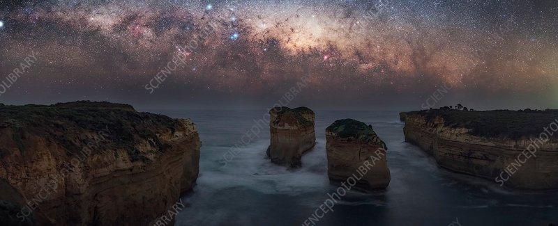 Milky Way over sea stacks, Australia