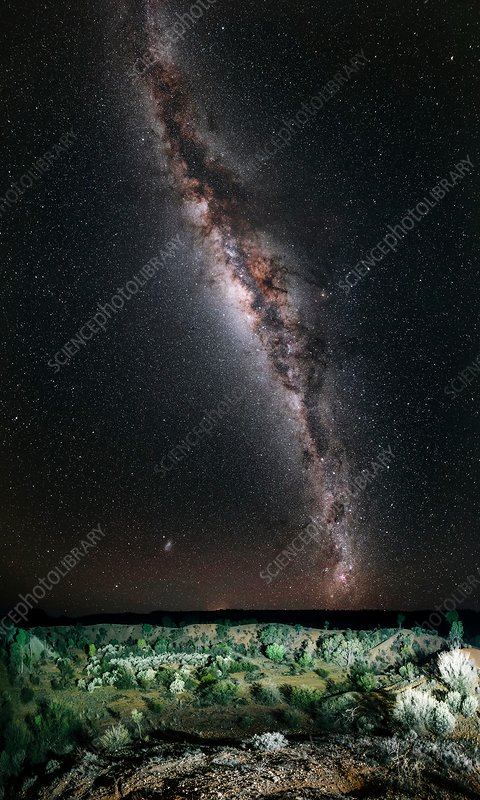Milky Way over Henbury meteorite craters