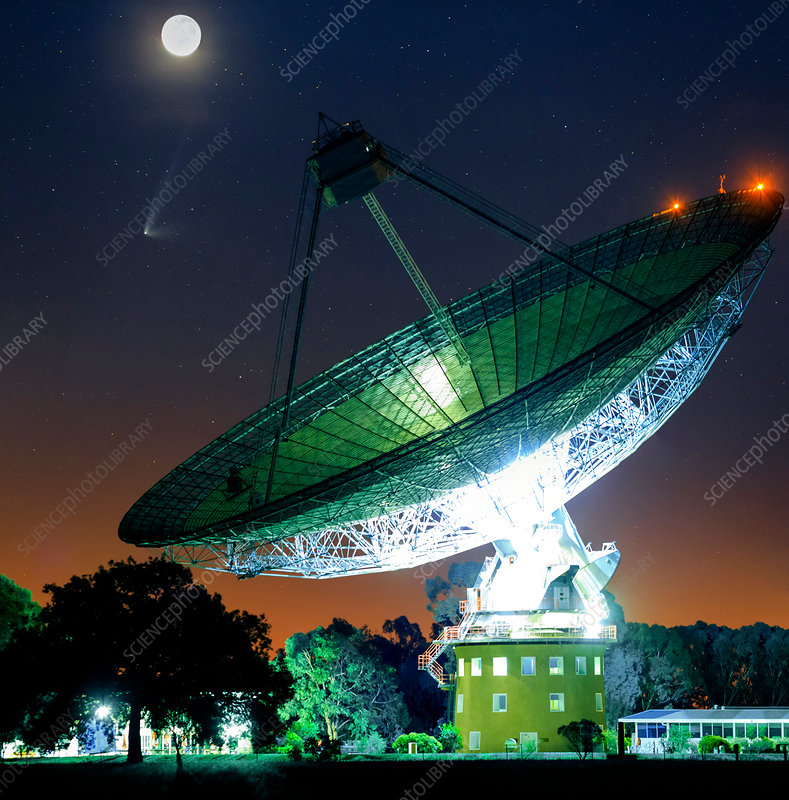 Comet over Parkes Observatory, Australia