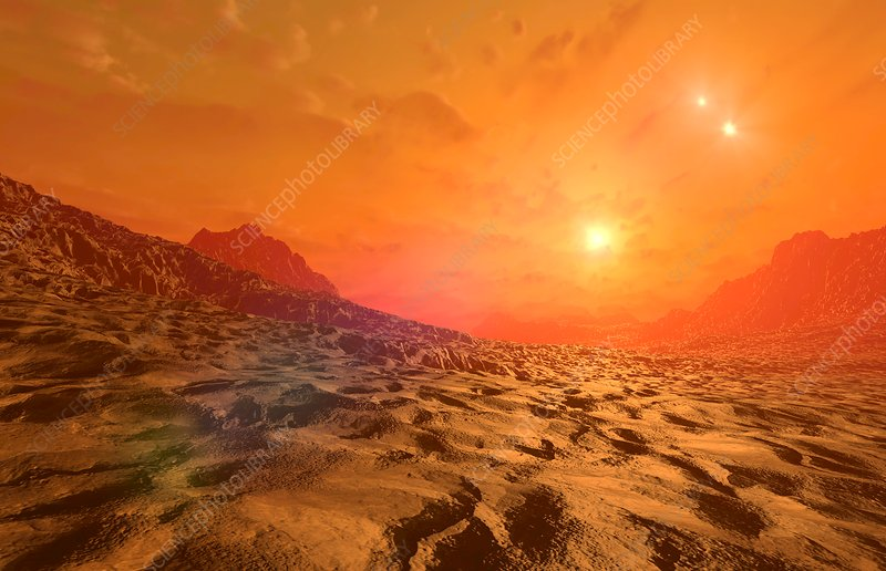 Proxima Centauri b exoplanet surface, illustration