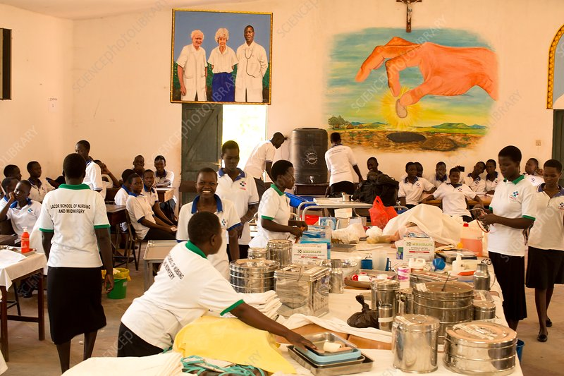 Students in a hospital classroom