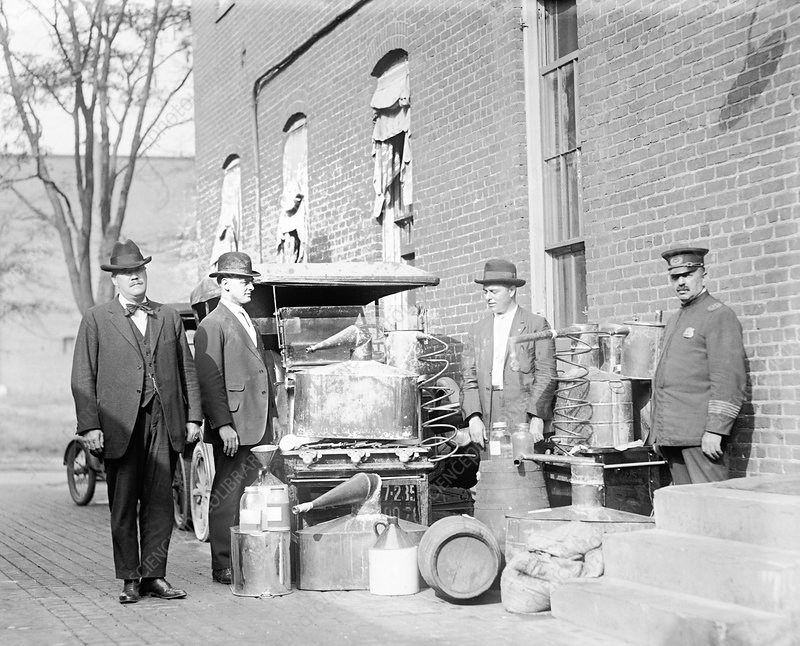 Still confiscated in prohibition raid, 1920s
