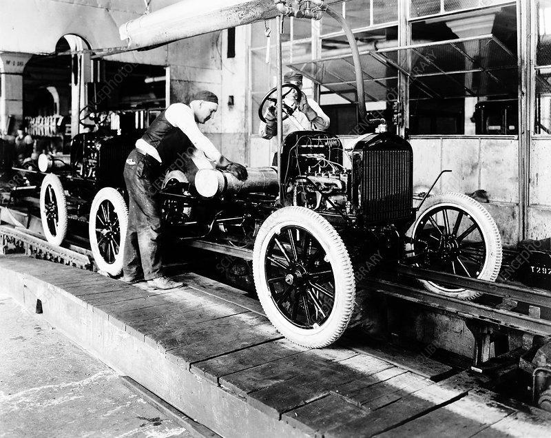 Car factory production line, 1920s