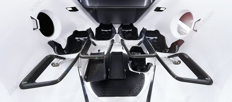 SpaceX's Crew Dragon interior, illustration