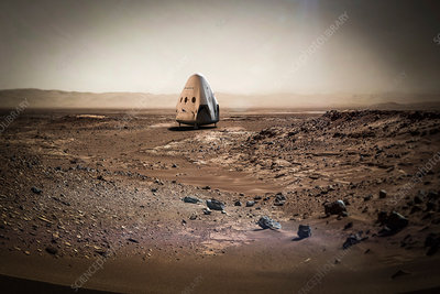 SpaceX's Red Dragon at Mars, illustration
