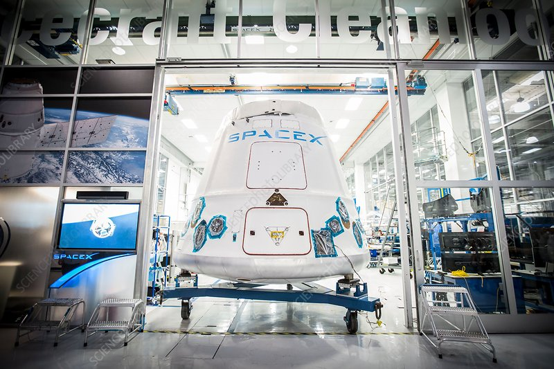 Dragon spacecraft at SpaceX headquarters, 2015