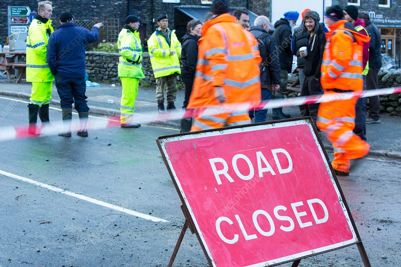 Road closed by flooding, UK