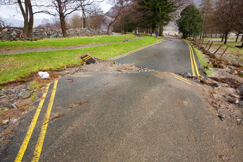 Flood damaged road, Glenridding, UK