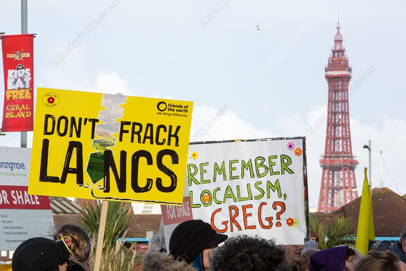 Fracking protest in Blackpool, UK