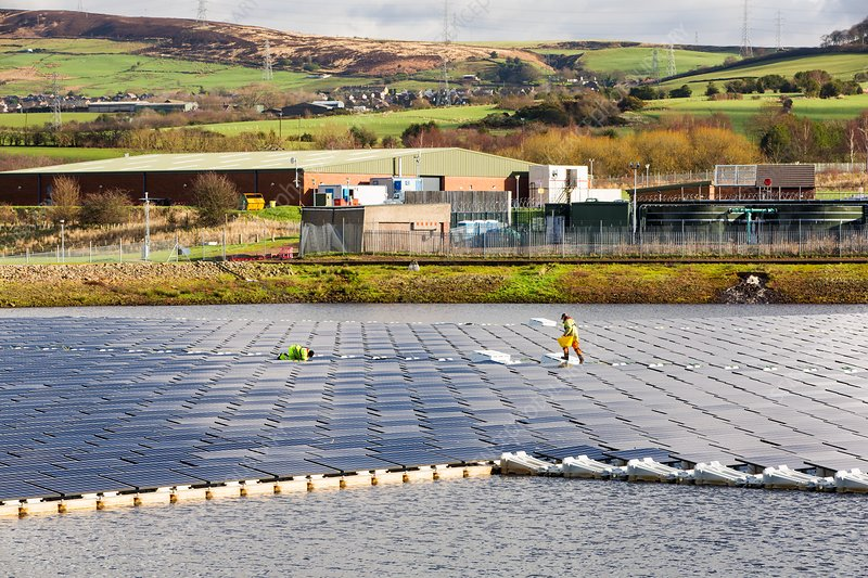Floating solar panels, Godley Reservoir, UK