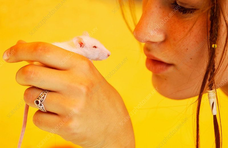 Teenager with mouse
