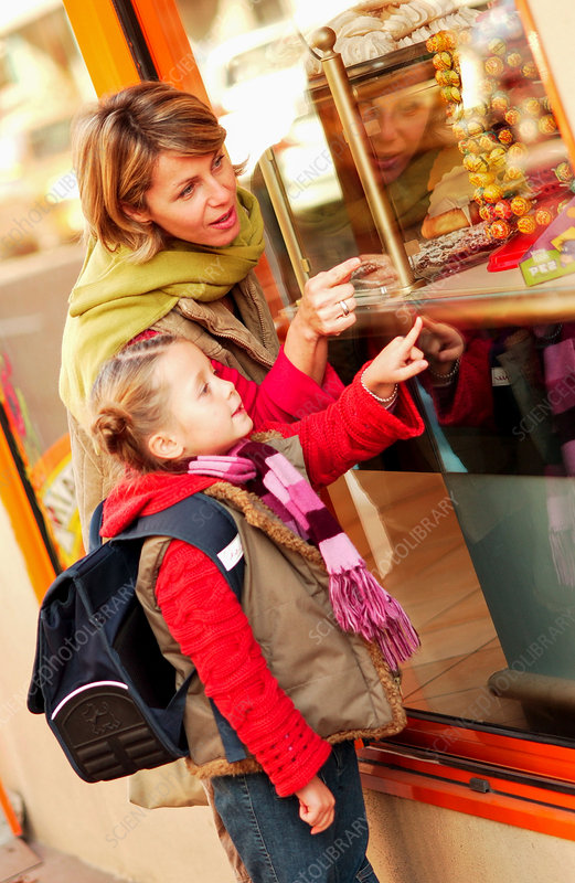 Girl choosing sweets