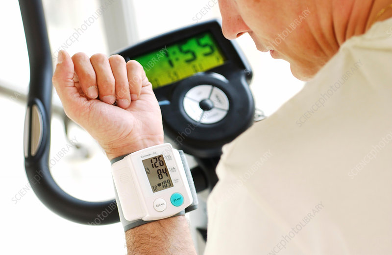 Man monitoring his blood pressure