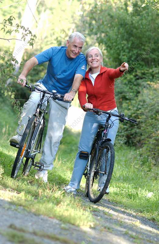 Senior couple on a bicycle ride