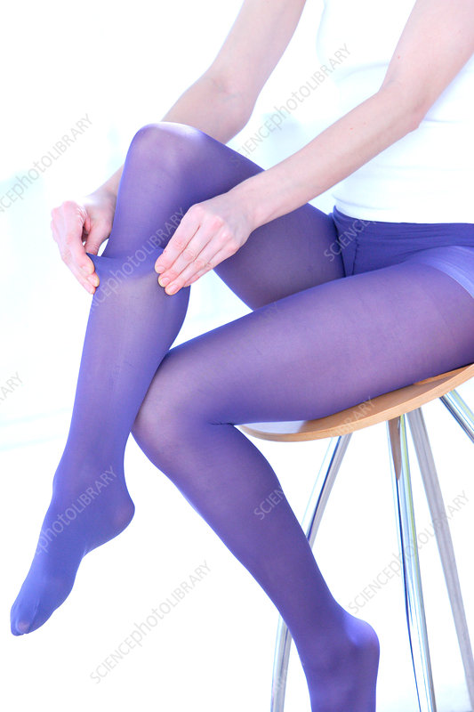 Woman wearing support socks