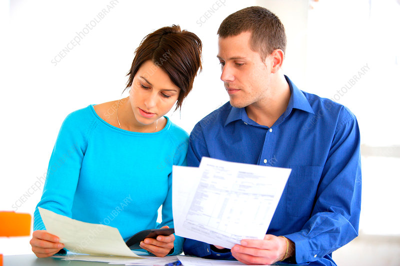 Couple doing administrative work