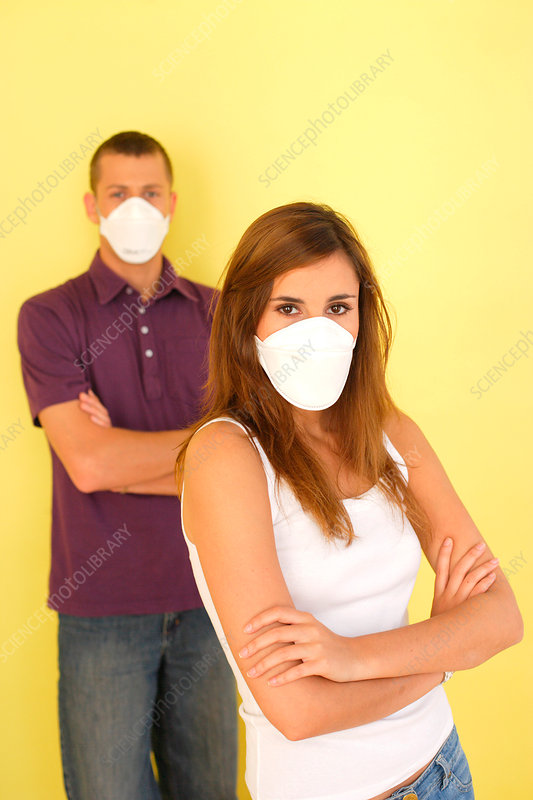 Couple with protective mask