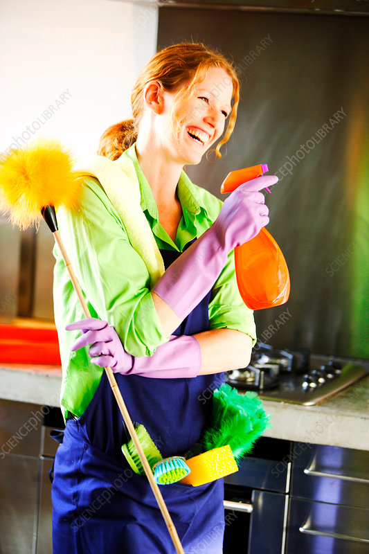 Woman house cleaning